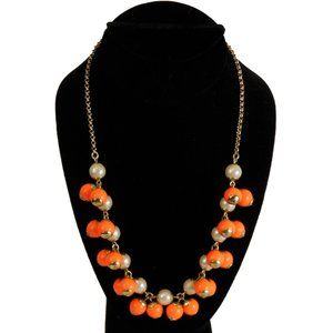 J. Crew Orange and White Statement Beaded Necklace